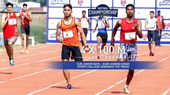 Sub Junior Boys 4x100M: Guru Gobind Singh Sports College keep their eye on the prize