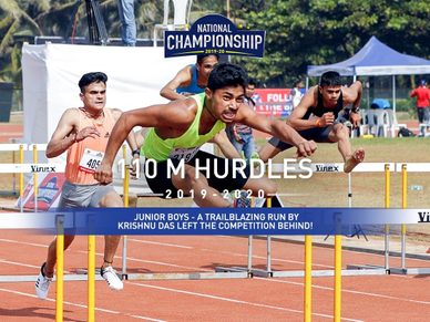 Junior Boys: Krishnu Das tears away from the competition with a powerful early burst