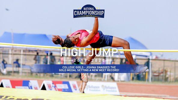 College Girls High Jump: Jishna clears 1.73 Mt to set new meet record